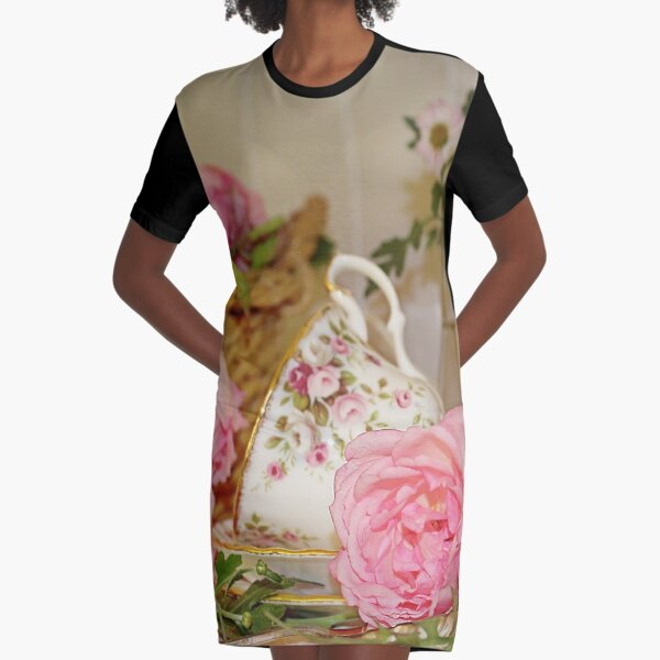 Teacup and Rose Still Life 1 Graphic T-Shirt Dress