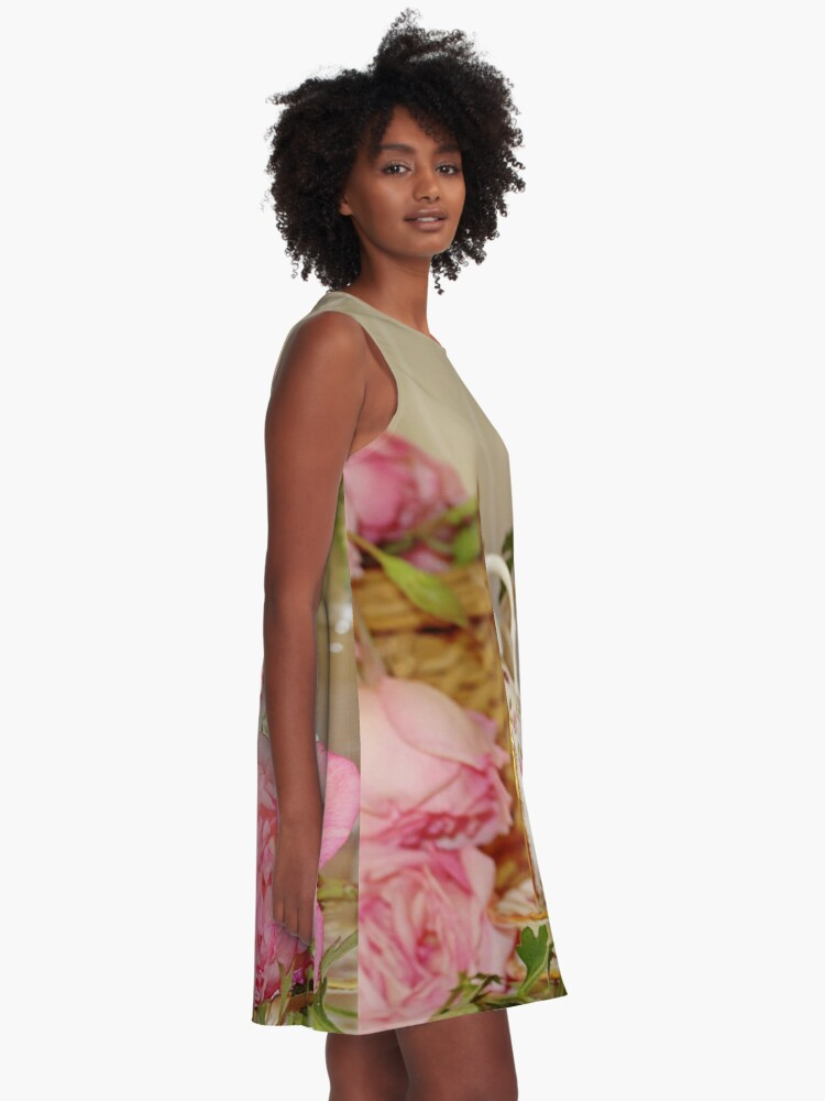 Alternate view of Teacup and Rose Still Life 1 A-Line Dress