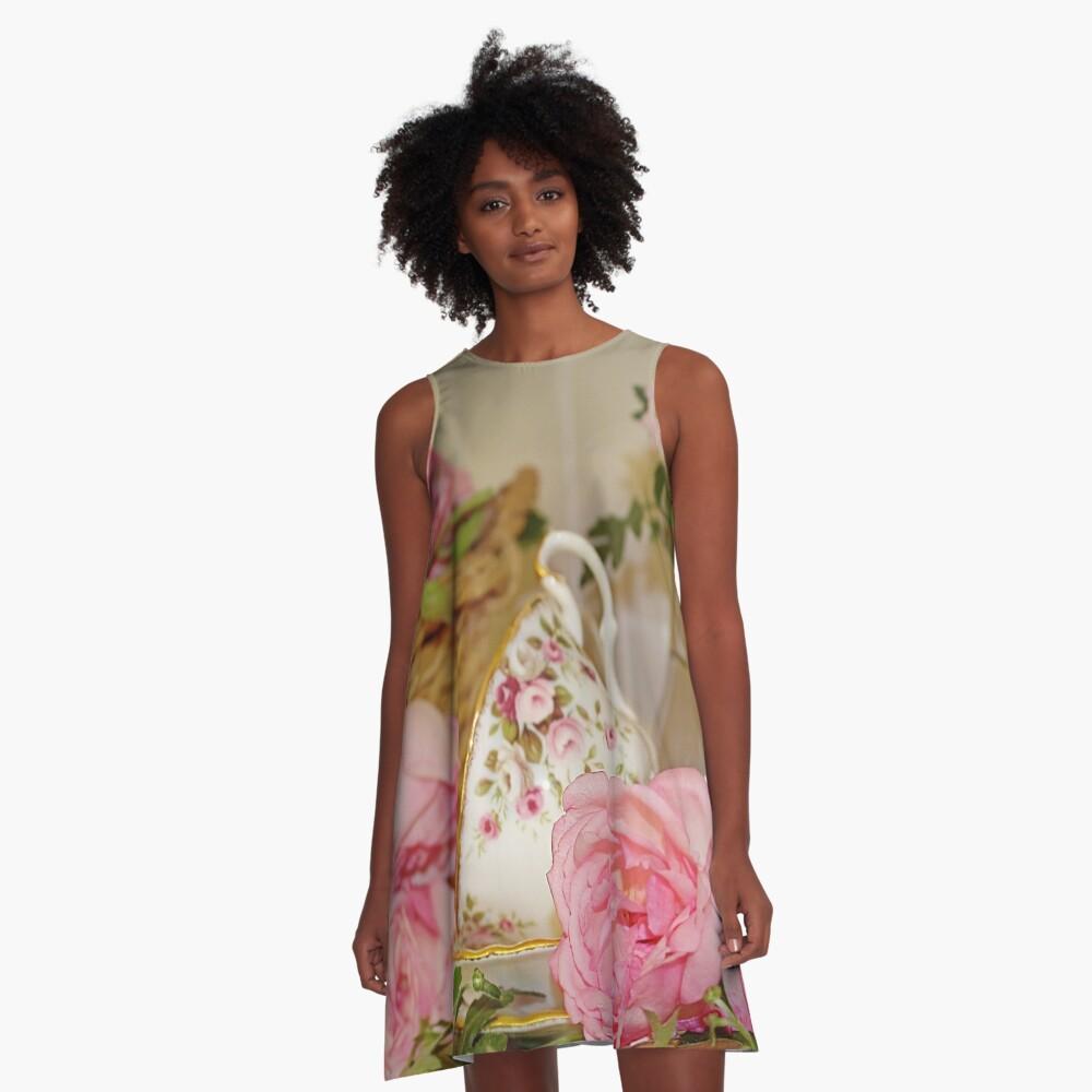 Teacup and Rose Still Life 1 A-Line Dress