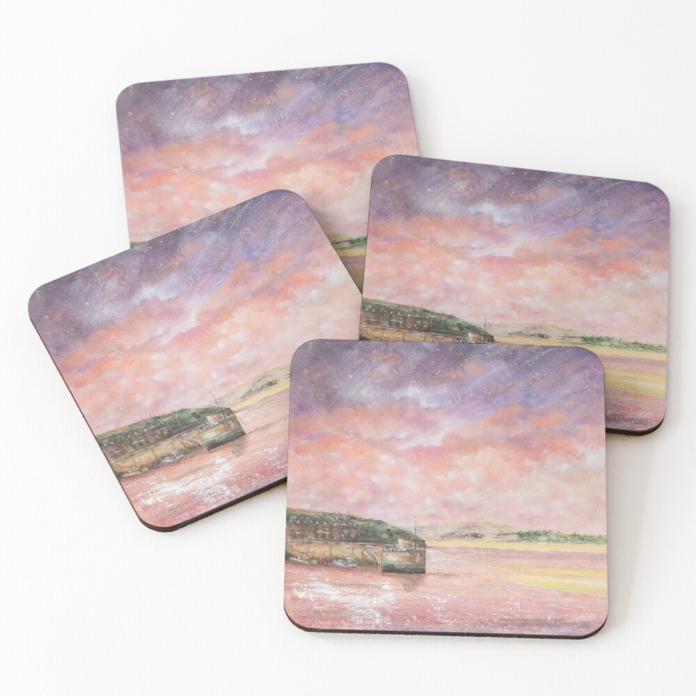 Padstow Harbour, North Cornwall Art Coasters (Set of 4)