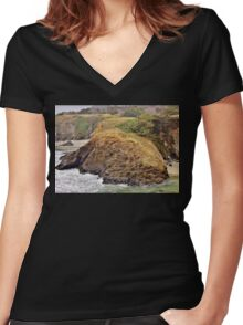 Headlands of the Jughandle State Reserve Women's Fitted V-Neck T-Shirt