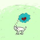 Lonely dog on green landscape by CatchyLittleArt