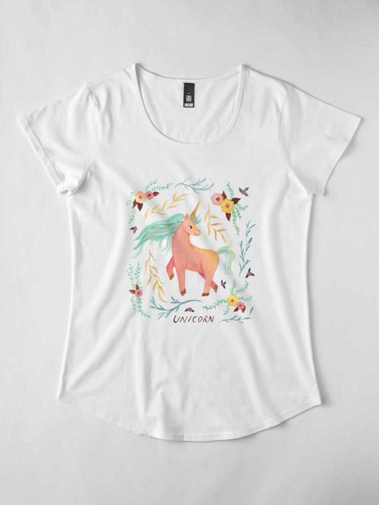 Alternate view of Unicorn, Plants and Flowers Premium Scoop T-Shirt