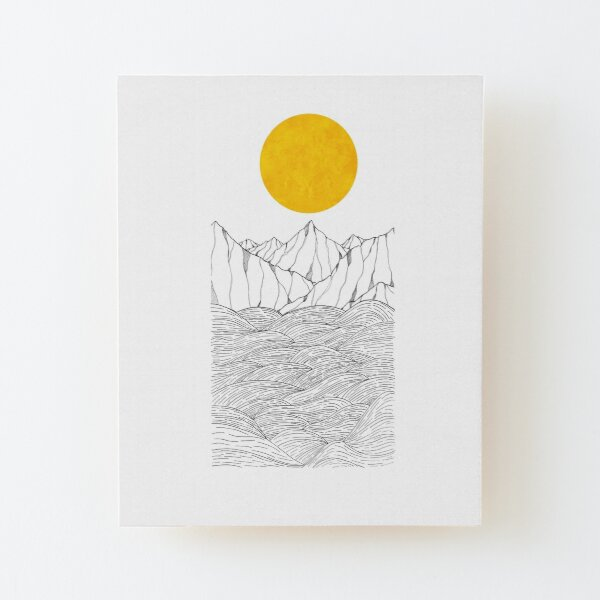 The sea cliffs under the giant sun  Wood Mounted Print
