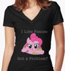Pinkie Problem Women's Fitted V-Neck T-Shirt