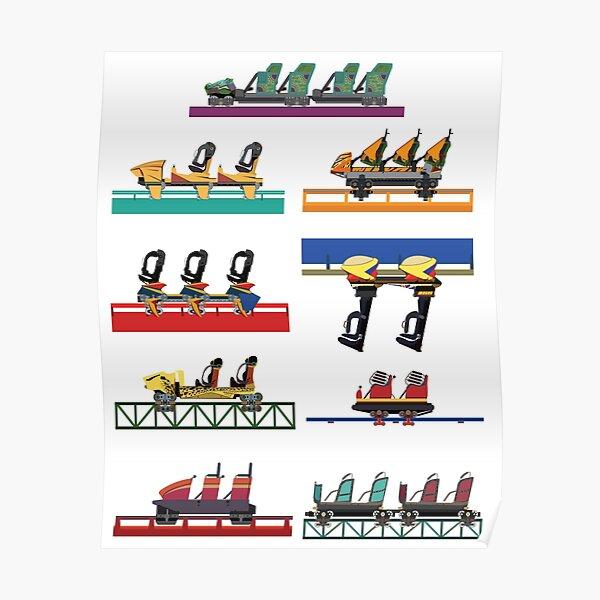Busch Gardens Coaster Cars V2 Design (with Iron Gwazi!) Poster