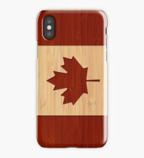 Bamboo Look & Engraved Canada Flag Maple Leaf iPhone Case