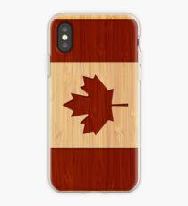 6401c567e54 Vinilo o funda para iPhone Mirada de bambú y grabado Bandera de Canadá Hoja  de arce