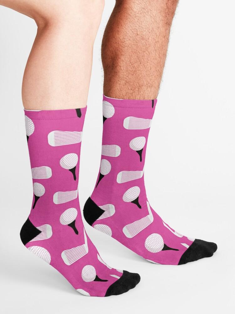 Alternate view of Golf Pattern (Magenta) Socks