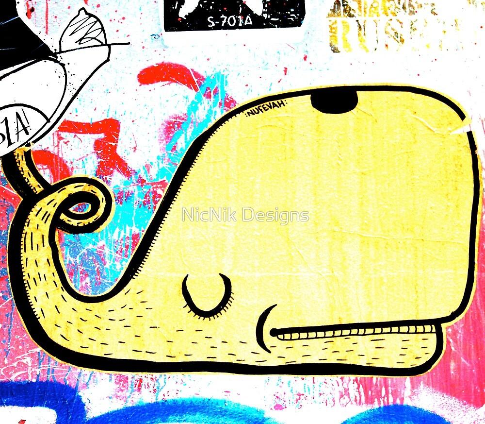Melbourne Graffiti Street Art - Yellow Whale by NicNik Designs