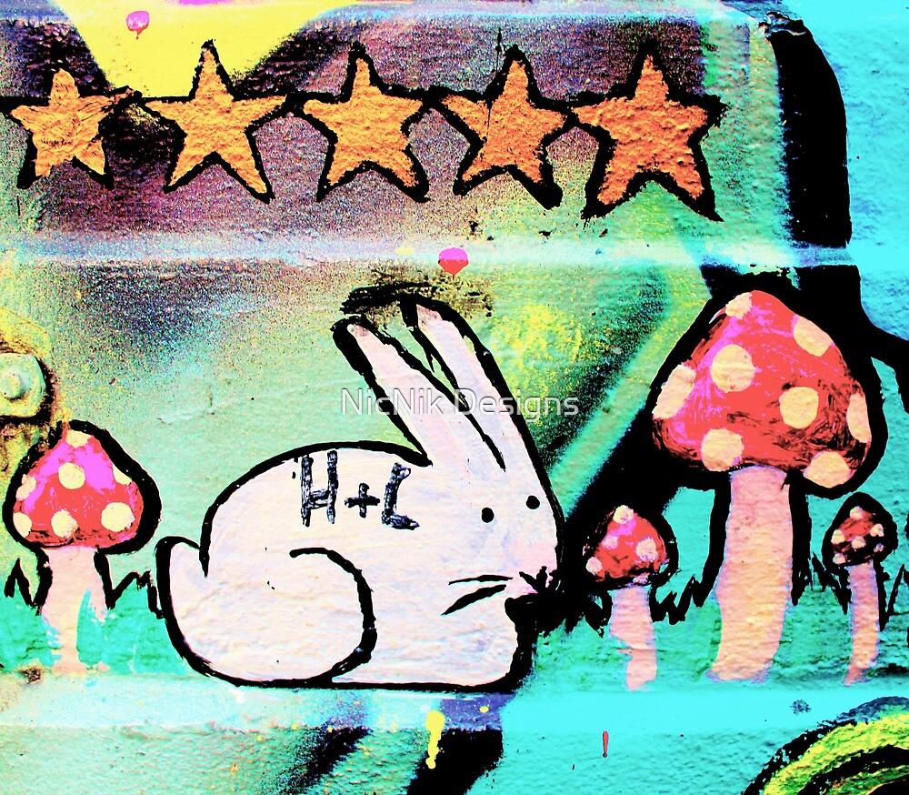 Happy bunny rabbit - Graffiti - Street Art by NicNik Designs