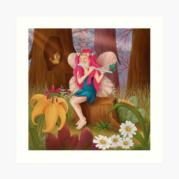Hada tocando la flauta en el bosque Lámina artística