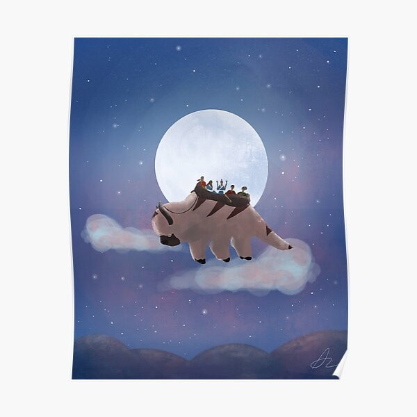 Appa and Team Avatar: Under the Moon Poster