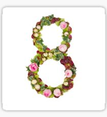 The number Eight Part of a set of letters, Numbers and symbols of the Alphabet made with flowers Sticker