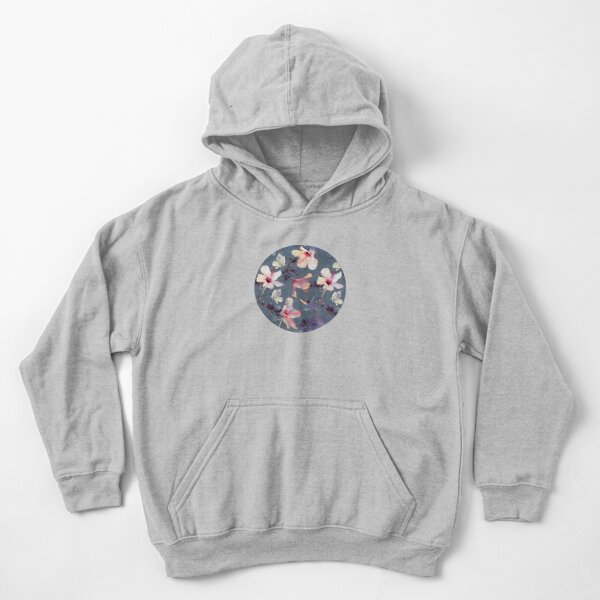 Butterflies and Hibiscus Flowers - a painted pattern Kids Pullover Hoodie