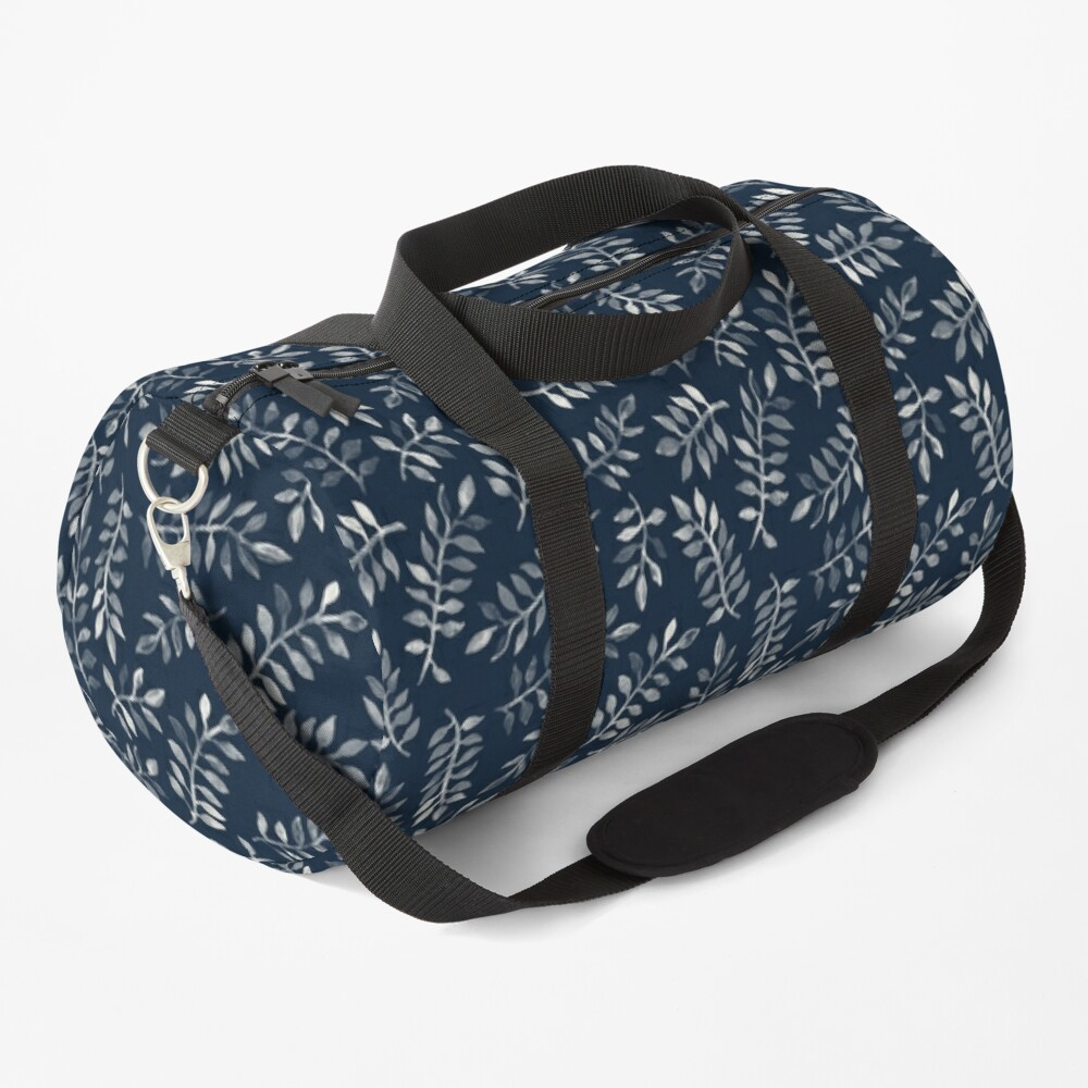 White Leaves on Navy - a hand painted pattern Duffle Bag
