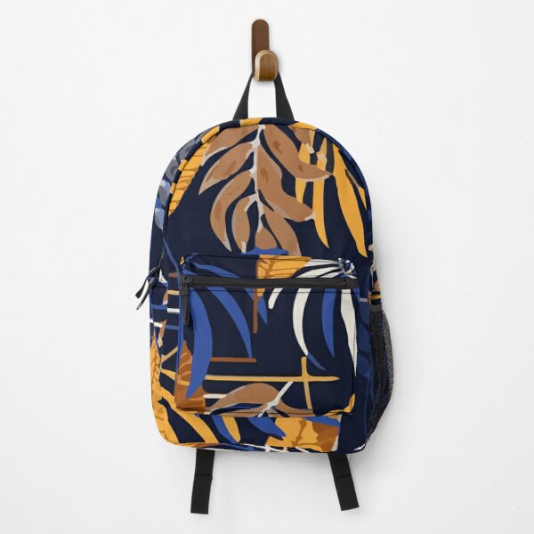 Abstract navy pattern with tropical leaves Backpack