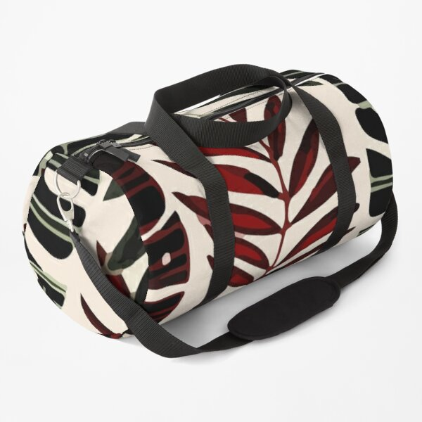 Abstract pattern with tropical red leaves Duffle Bag