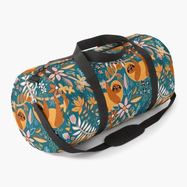 Happy Boho Sloth Floral  Duffle Bag