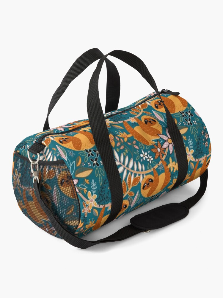 Alternate view of Happy Boho Sloth Floral  Duffle Bag