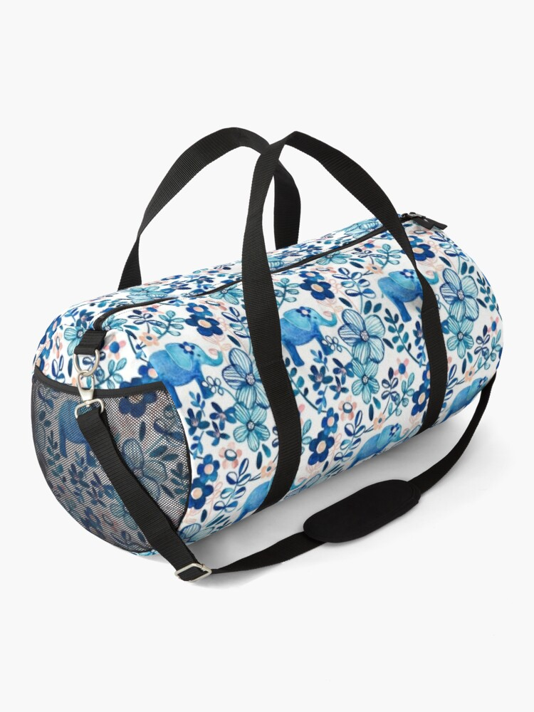 Alternate view of Blush Pink, White and Blue Elephant and Floral Watercolor Pattern Duffle Bag