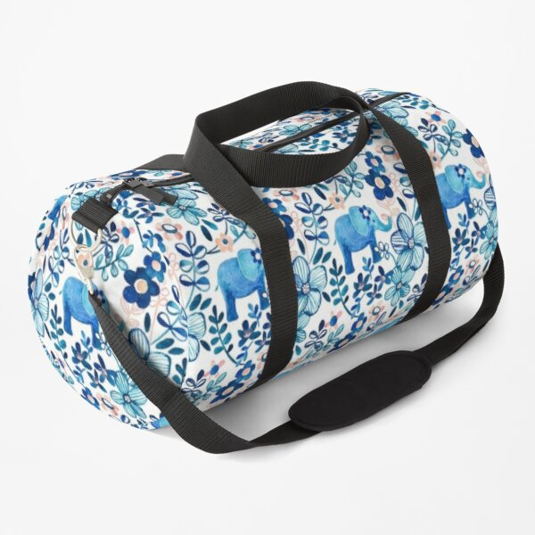 Blush Pink, White and Blue Elephant and Floral Watercolor Pattern Duffle Bag