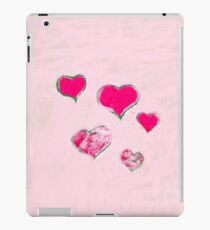 Green - pink hearts on pink - white snow iPad Case/Skin