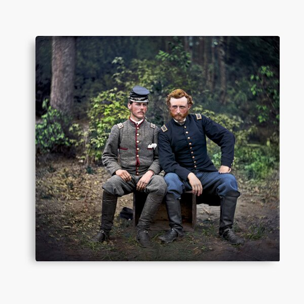 General George A. Custer sits alongside his friend, Confederate prisoner Lieutenant James B. Washington. They were classmates at West Point before the Civil War broke out — 1862 Canvas Print