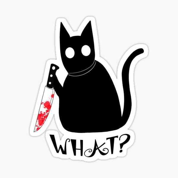 Stabby Black Cat Sticker