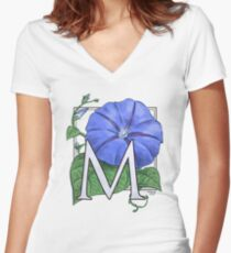 M is for Morning Glory Women's Fitted V-Neck T-Shirt