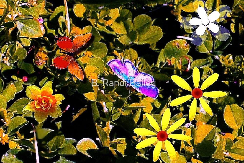 Butterflies in a flower patch by ♥⊱ B. Randi Bailey