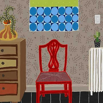 Red chair by lesleypaints
