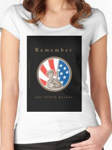 Memorial Day Greeting Card American WWII Soldier Flag Women's Fitted Scoop T-Shirt
