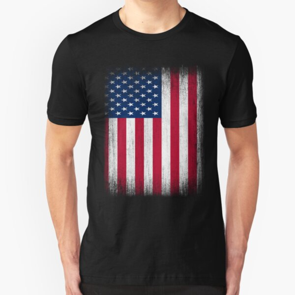 Vintage USA Flag Slim Fit T-Shirt