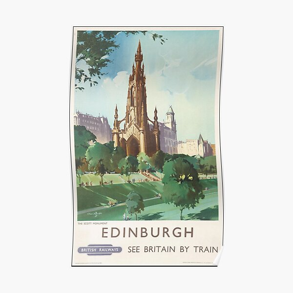Edinburgh Vintage See Britain By Train Poster. Poster