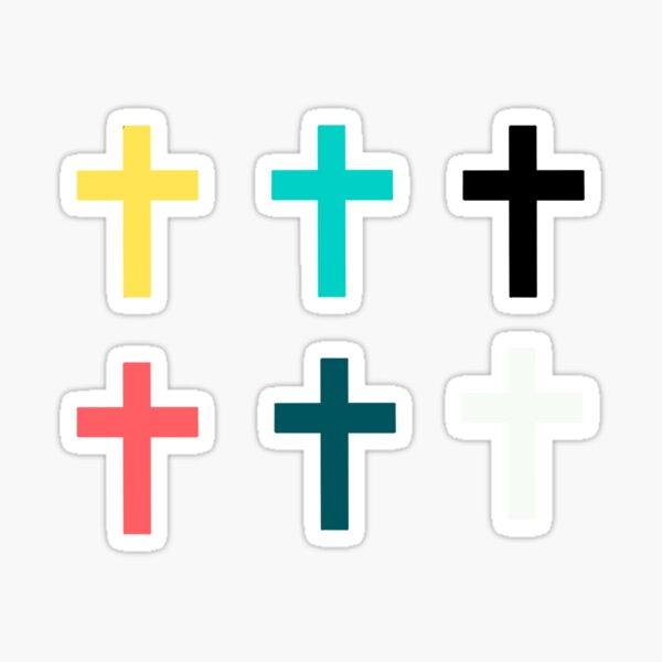 Un paquete de cruces cristianas Pegatina