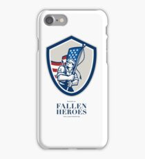 Memorial Day Greeting Card American Soldier Waving USA Flag iPhone Case/Skin