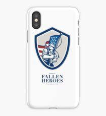 Memorial Day Greeting Card American Soldier Waving USA Flag iPhone Case