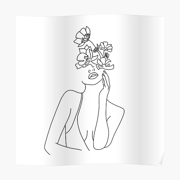 Women with flowers Poster
