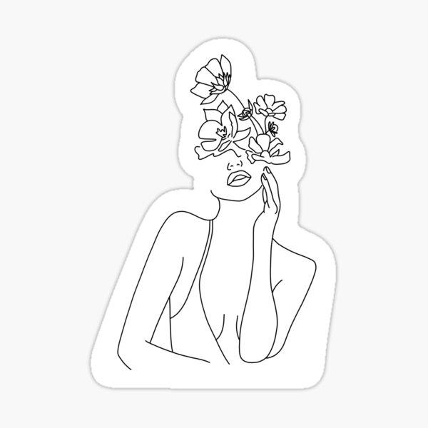 Women with flowers Sticker