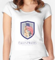 Memorial Day Greeting Card Soldier Military Holding Flag Rifle Women's Fitted Scoop T-Shirt