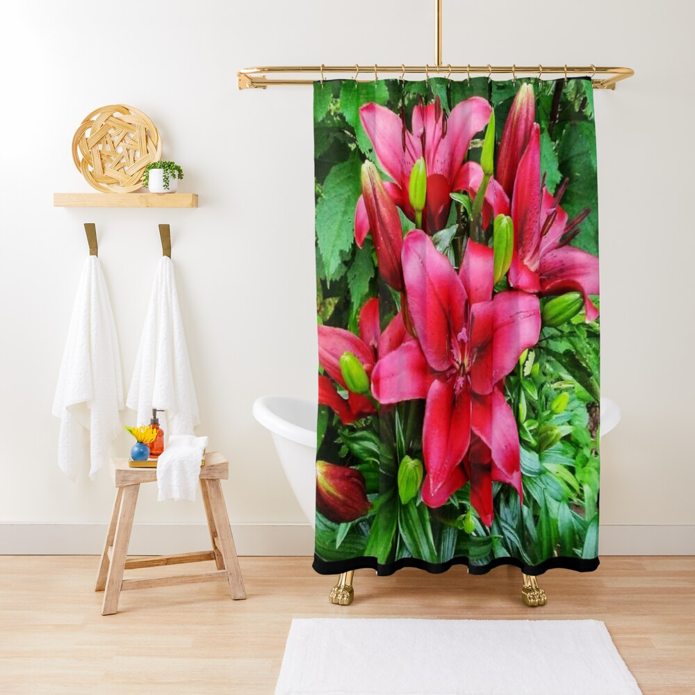 The Red Lily are Popping at Mommas Goden! Shower Curtain