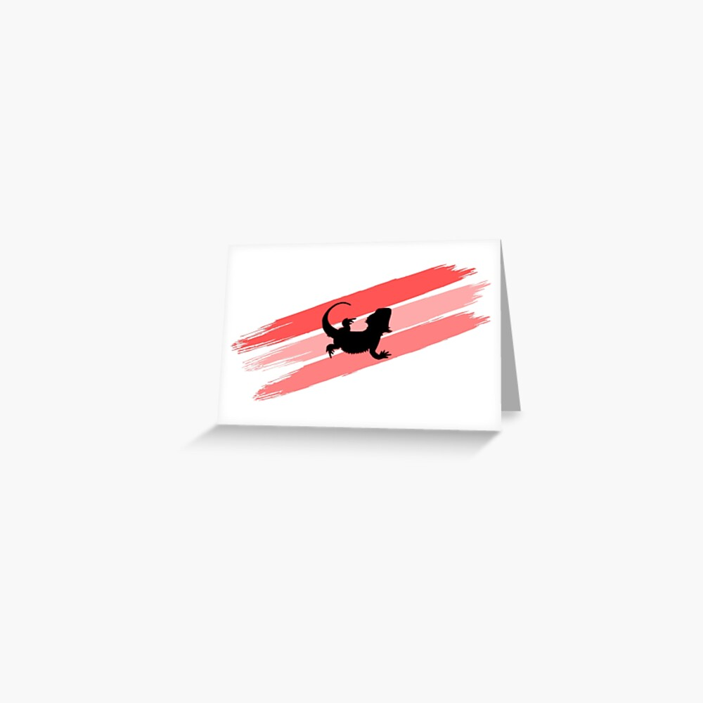 Bearded Dragon Brush Stroke Silhouette Greeting Card