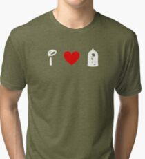 I Heart Beauty and The Beast (Classic Logo) (Inverted) Tri-blend T-Shirt
