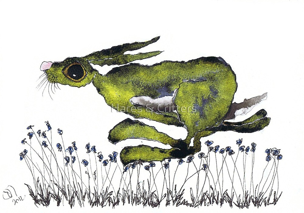 RUNNING HARE  by Hares & Critters
