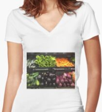 Vegetables  Women's Fitted V-Neck T-Shirt