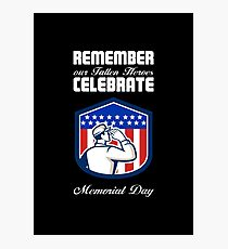 Memorial Day Greeting Card American Soldier Saluting Flag Photographic Print