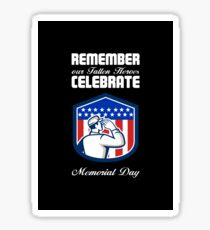 Memorial Day Greeting Card American Soldier Saluting Flag Sticker