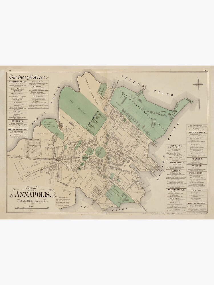 Vintage Map of Annapolis MD (1878) by BravuraMedia