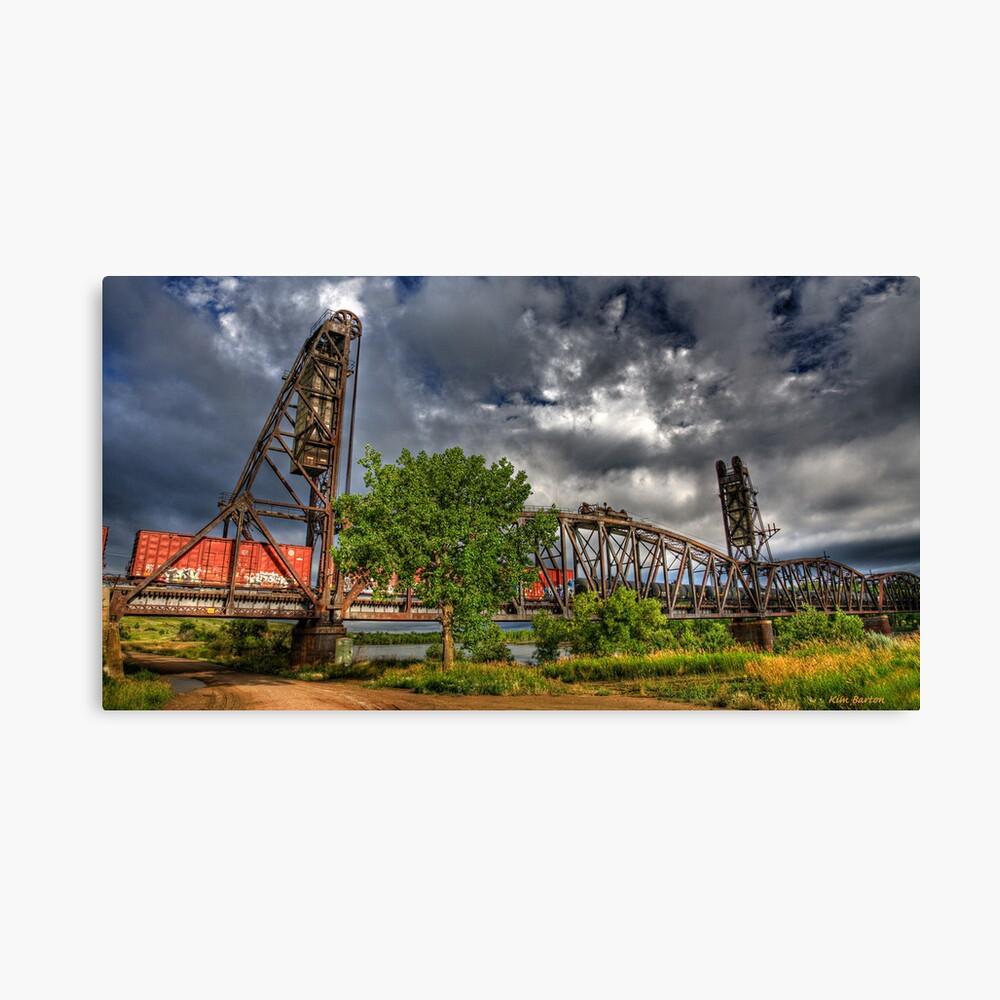 Missouri River Railroad Bridge HDR Canvas Print